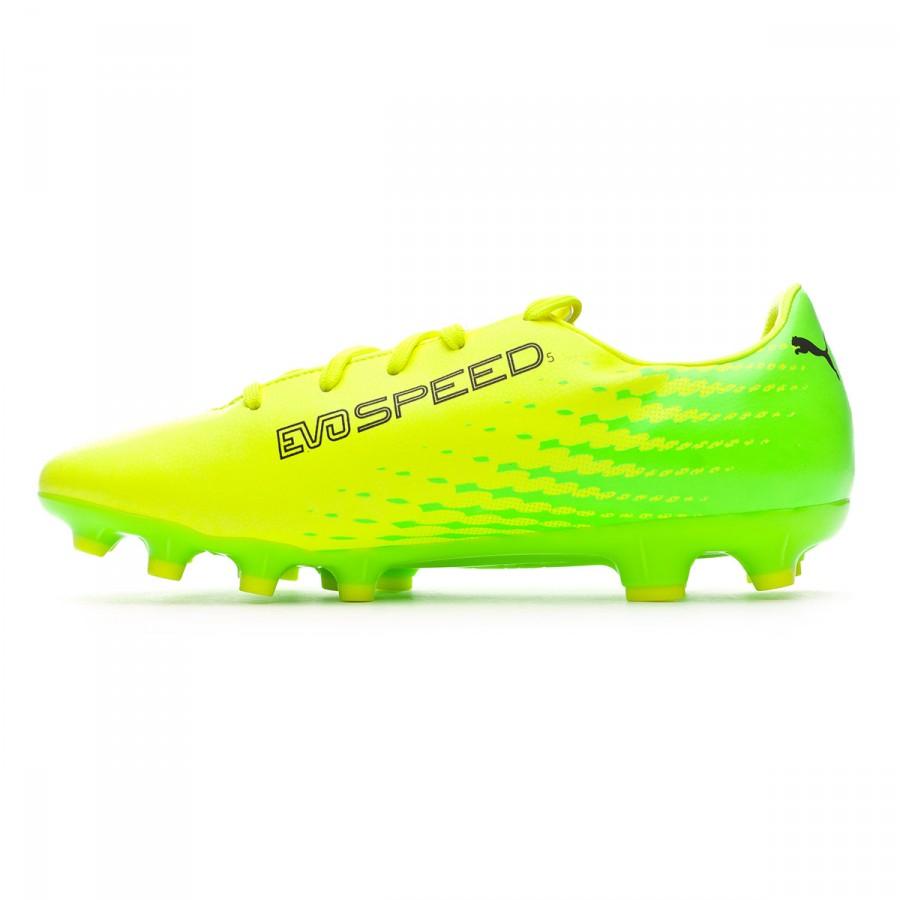 6d1bd283614 Football Boots Puma Jr evoSPEED 17.5 AG Safety yellow-Black-Green gecko - Football  store Fútbol Emotion