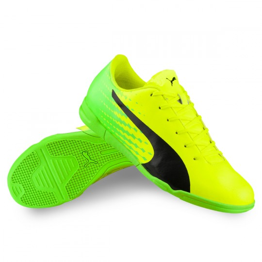 Chaussure de futsal  Puma jr evoSPEED 17.5 IT Safety yellow-Black-Green gecko