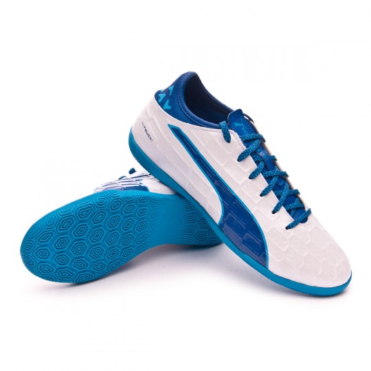 Chaussure de futsal  Puma jr evoTOUCH 3 IT White-Blue-Blue
