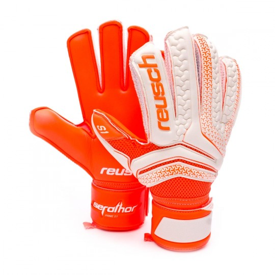 Guanto  Reusch Serathor Prime S1 White-Shocking orange