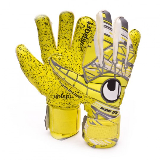 Luvas  Uhlsport Eliminator Supergrip Lite fluor yellow-Griffin grey-White