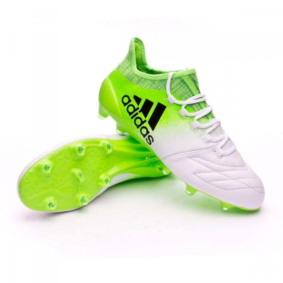 38bd203a88cb Football Boots adidas X 16.1 FG Piel White-Core black-Solar green ...