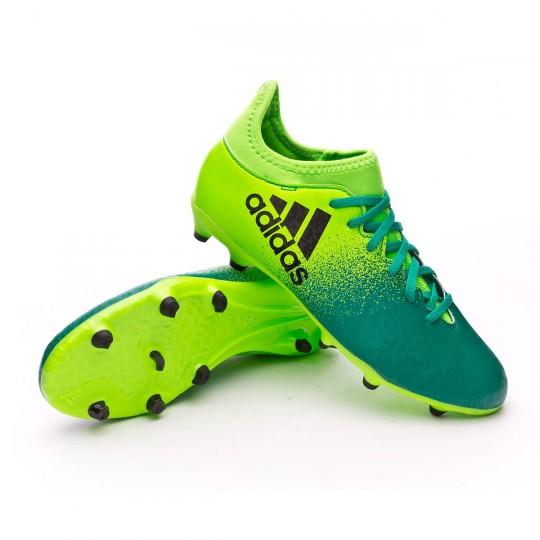Bota  adidas jr X 16.3 FG Solar green-Core black