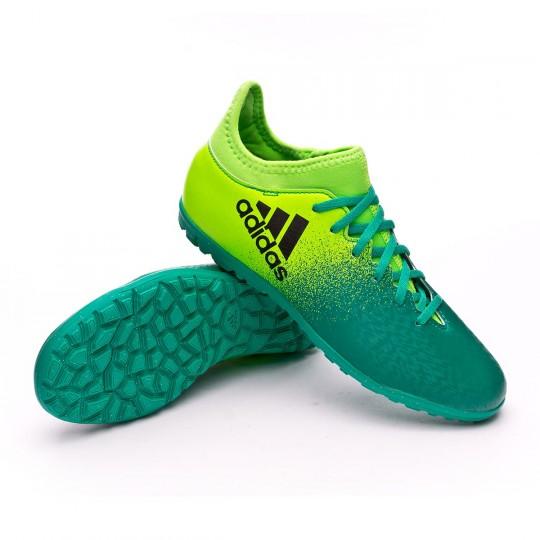 Chuteira  adidas jr X 16.3 Turf Solar green-Core black