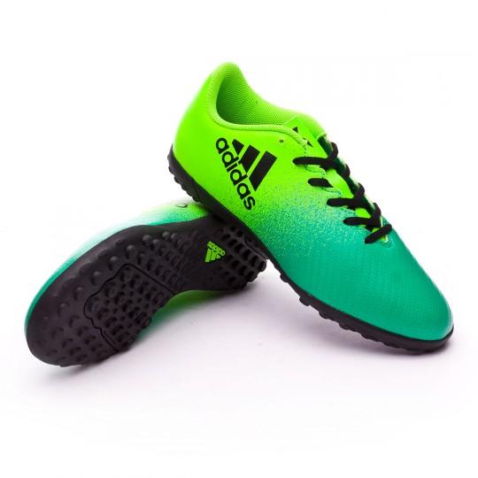 Chuteira  adidas jr X 16.4 Turf Solar green-Core black