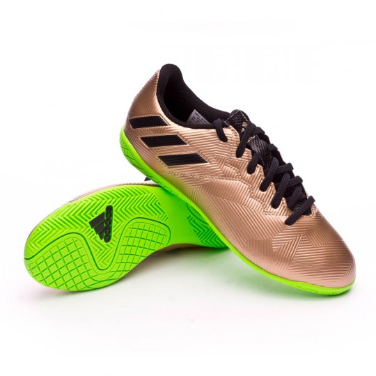 Chaussure de futsal  adidas Jr Messi 16.4 IN Copper metallic-Core black-Solar green