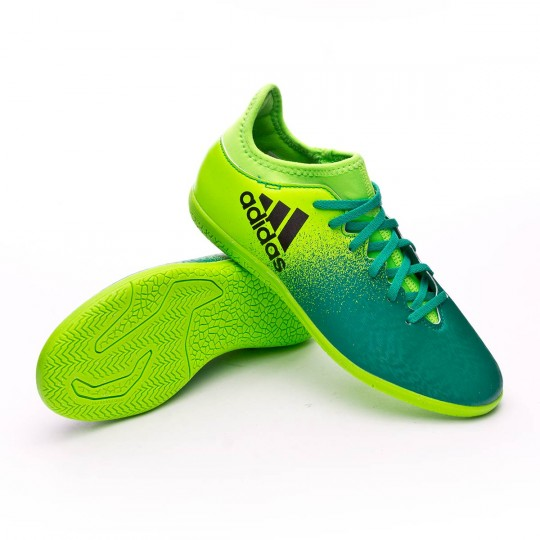 Zapatilla de fútbol sala  adidas jr X 16.3 IN Solar green-Core black-Core green