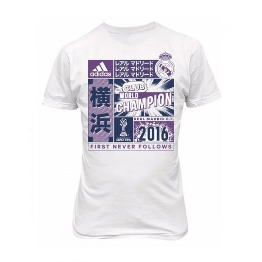Camiseta  adidas jr Real Madrid Club World Champion White-Purple