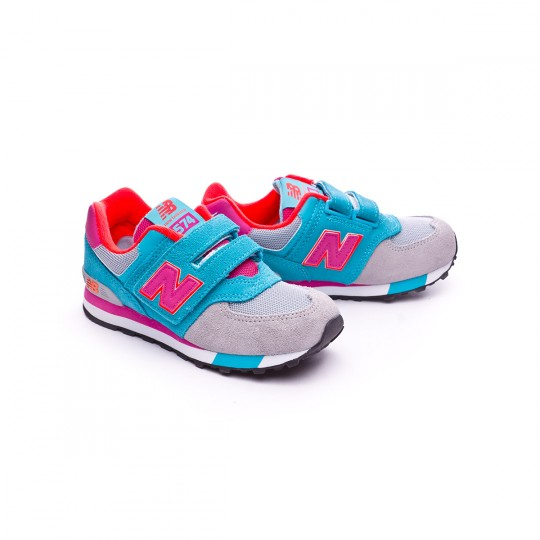 Zapatilla  New Balance KV574 Velcro Blue-Grey-Pink