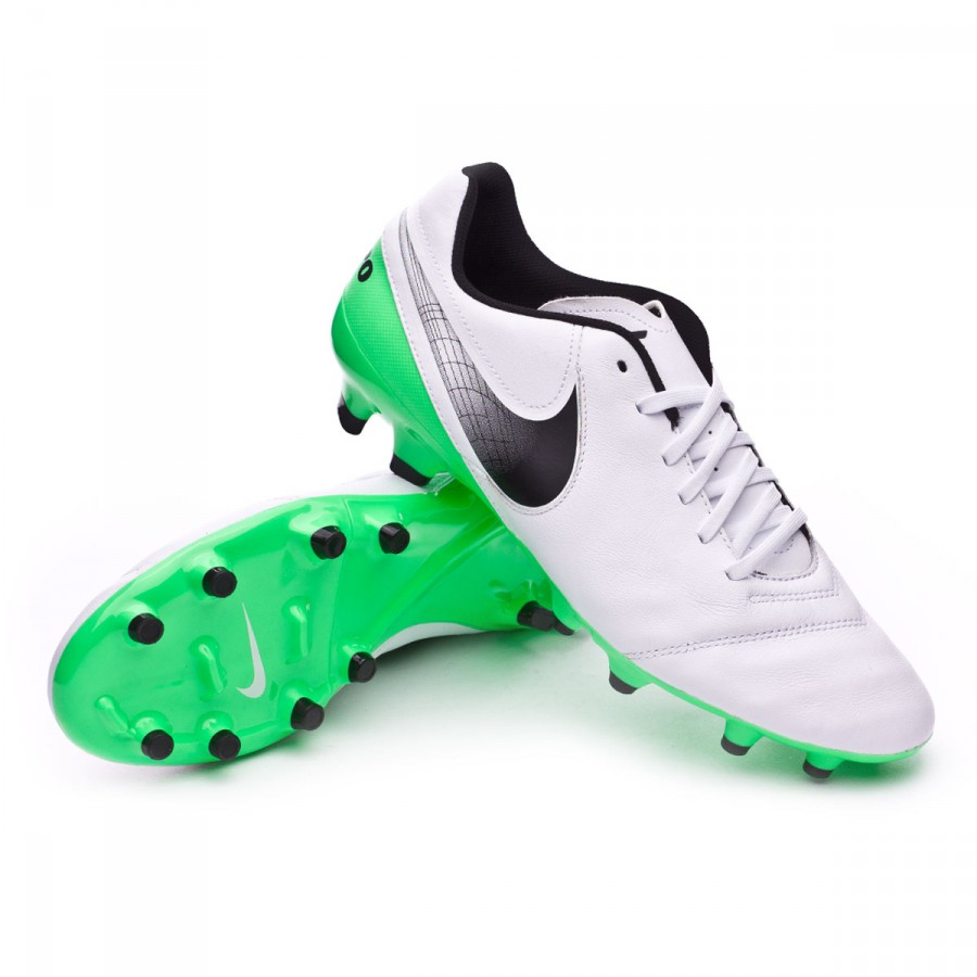 31d1a201644b Nike Tiempo Genio II Leather FG Football Boots. White-Electro green ...