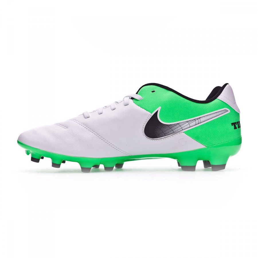 8087ffc0e0f8 Football Boots Nike Tiempo Genio II Leather FG White-Electro green -  Football store Fútbol Emotion