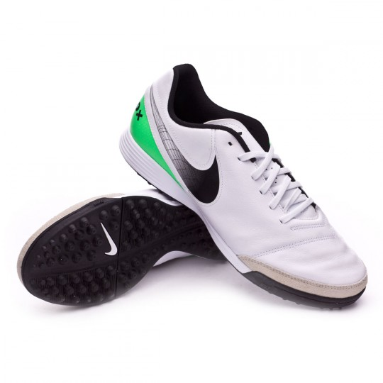 Zapatilla de fútbol sala  Nike TiempoX Genio II Leather Turf White-Electro green