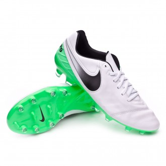 Chuteira  Nike Tiempo Legacy II FG White-Electro green