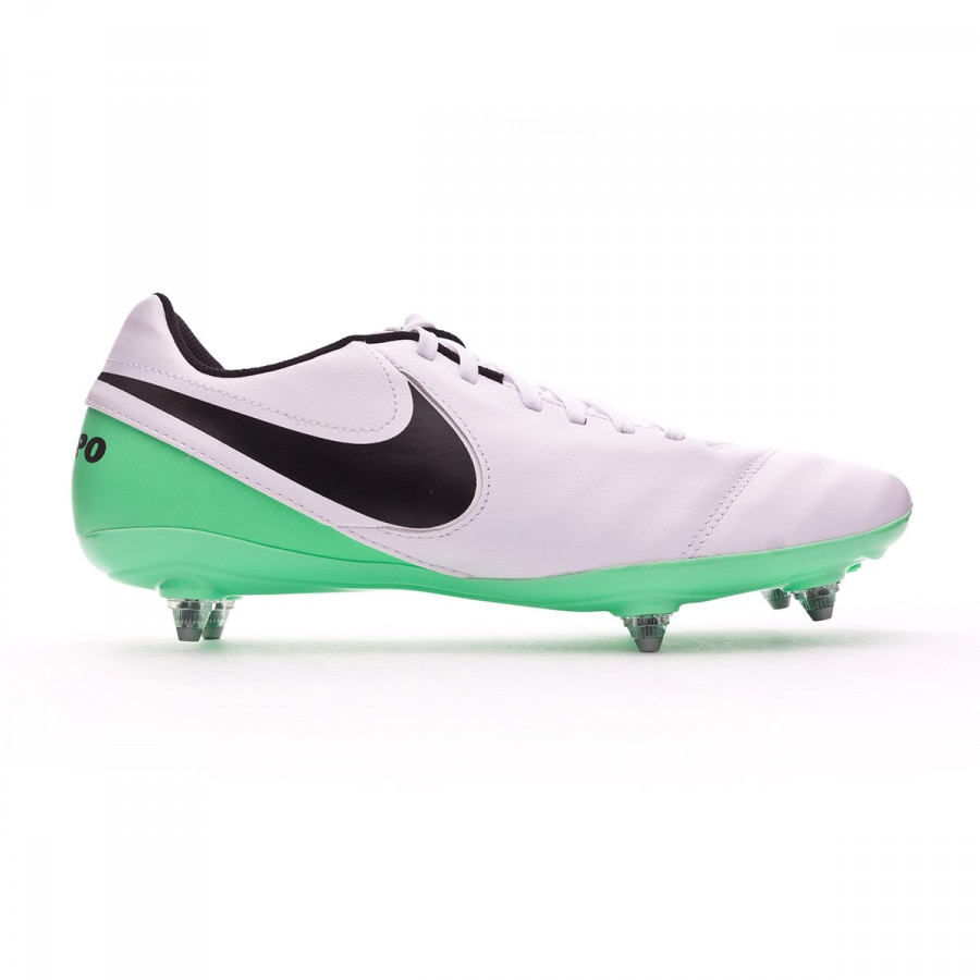 wholesale dealer acb50 a99cc Chaussure de foot Nike Tiempo Genio Leather II SG White-Electro green -  Boutique de football Fútbol Emotion