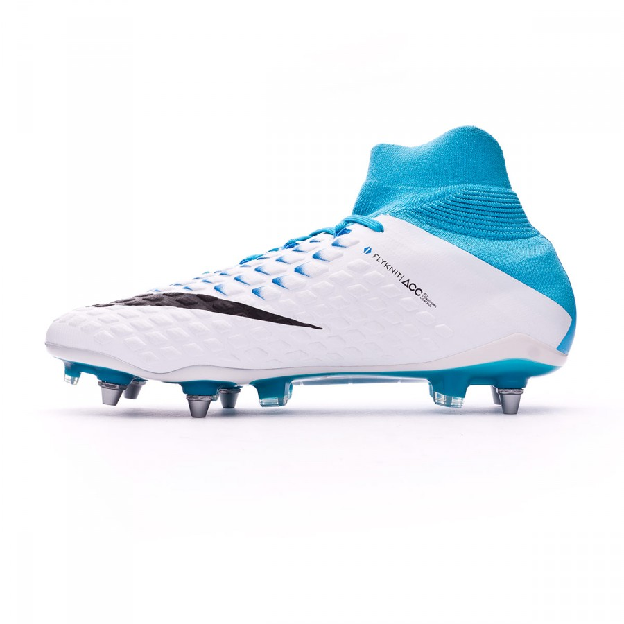 5bbeccb0b4e Football Boots Nike Hypervenom Phantom III ACC DF SG-Pro White-Photo blue-Chlorine  blue - Football store Fútbol Emotion
