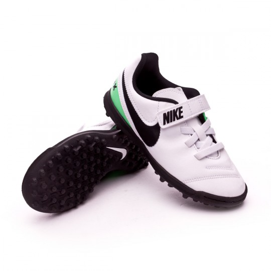Zapatilla de fútbol sala  Nike jr TiempoX Rio III Velcro Turf White-Electro green