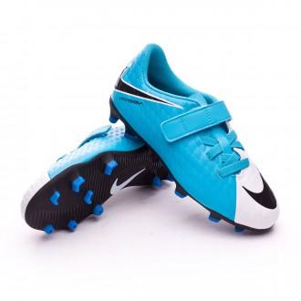 Bota  Nike Hypervenom Phade III Velcro FG Niño White-Photo blue-Chlorine blue