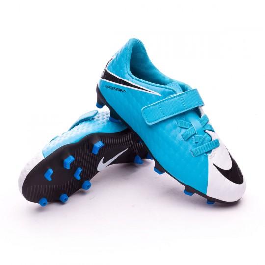 Bota  Nike jr Hypervenom Phade III Velcro FG White-Photo blue-Chlorine blue