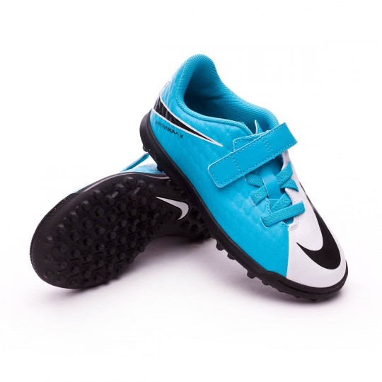 Chaussure de futsal  Nike jr HypervenomX Phade III Velcro Turf White-Photo blue-Chlorine blue