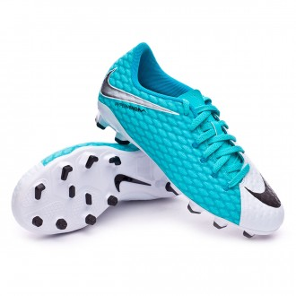 Chuteira  Nike Jr Hypervenom Phelon III FG White-Photo blue-Chlorine blue