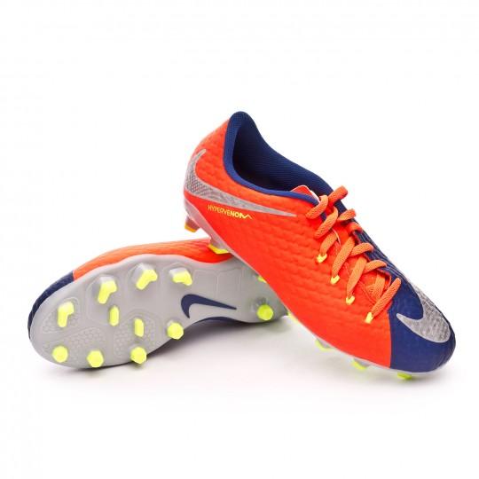 Bota  Nike Hypervenom Phelon III FG Niño Deep royal blue-Chrome-Total crimson