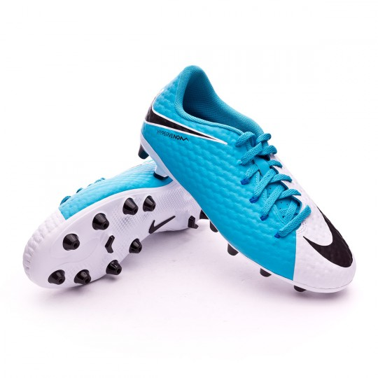 Chuteira  Nike jr Hypervenom Phelon III AG-Pro White-Photo blue-Chlorine blue