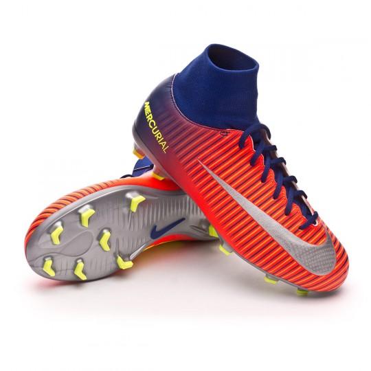 Chuteira  Nike jr Mercurial Victory VI DF FG Deep royal blue-Chrome-Total crimson