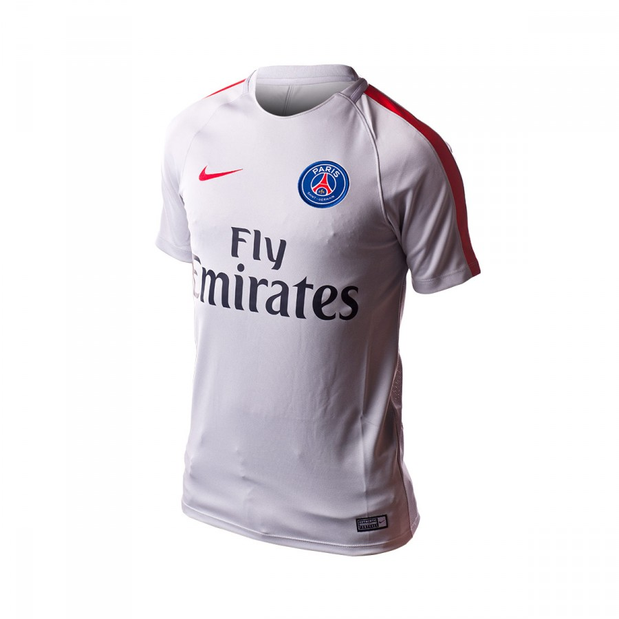 Jersey Nike Paris Saint-Germain Dry Top 2016-2017 Wolf grey-University red  - Football store Fútbol Emotion ed561b28b9f56