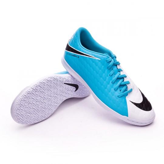 Zapatilla de fútbol sala  Nike HypervenomX Phade III IC White-Photo blue-Chlorine blue