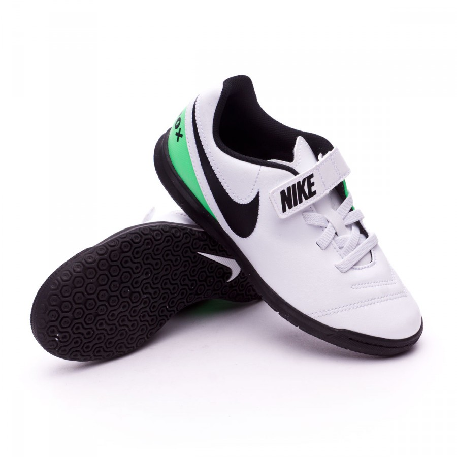57cf4fd5bdfd8 Zapatilla Nike TiempoX Rio III Velcro IC Niño White-Electro green - Tienda  de fútbol Fútbol Emotion