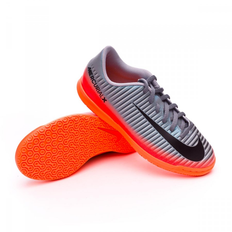 4f08b0bb28b9f Futsal Boot Nike Jr MercurialX Vortex III CR7 IC Cool grey-Metallic ...