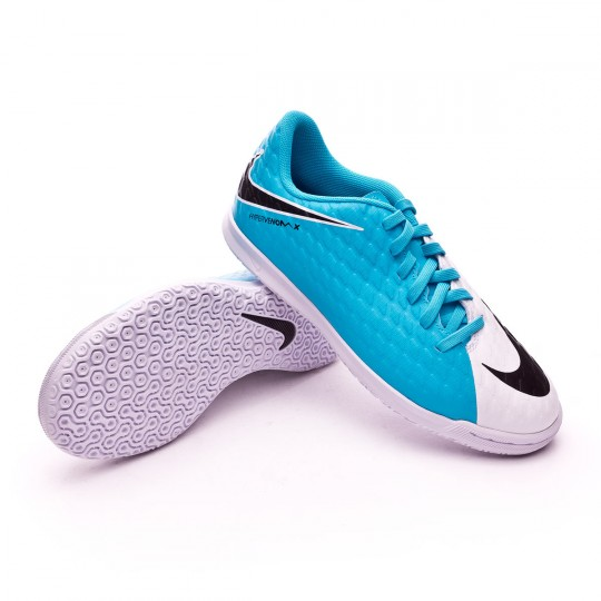 Chaussure de futsal  Nike jr HypervenomX Phade III IC White-Photo blue-Chlorine blue