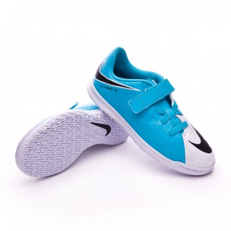 Sapatilha de Futsal  Nike Jr HypervenomX Phade III Velcro IC White-Photo blue-Chlorine blue