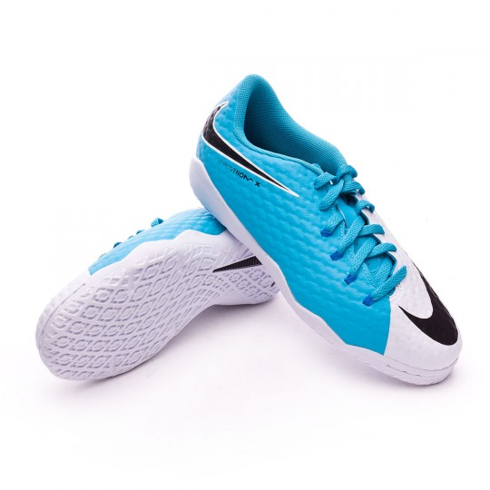 Chaussure de futsal  Nike jr HypervenomX Phelon III IC White-Photo blue-Chlorine blue