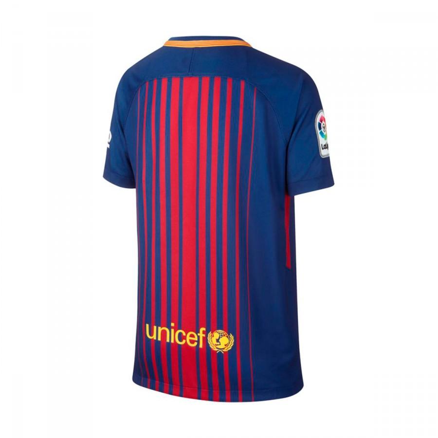 b93e763f3c576 Camiseta Nike FC Barcelona Breathe Stadium Primera Equipación 2017-2018 Niño  Deep royal blue-University gold - Tienda de fútbol Fútbol Emotion
