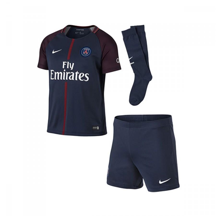 1e29b9c738901 Kit Nike Jr Paris Saint-Germain Home 2017-2018 Midnight navy-White ...