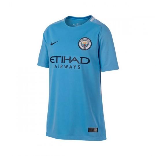 Camisola  Nike Jr Manchester City Breathe Stadium SS 2017-2018 Field blue-Midnight navy