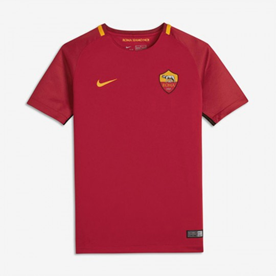 Camiseta  Nike AS Roma Breathe Stadium SS 2017-2018 Niño Team crimson-University gold