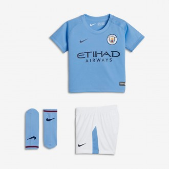 Conjunto  Nike Manchester City Equipamento Principal 2017-2018 Bebé Field blue-White-Midnight navy