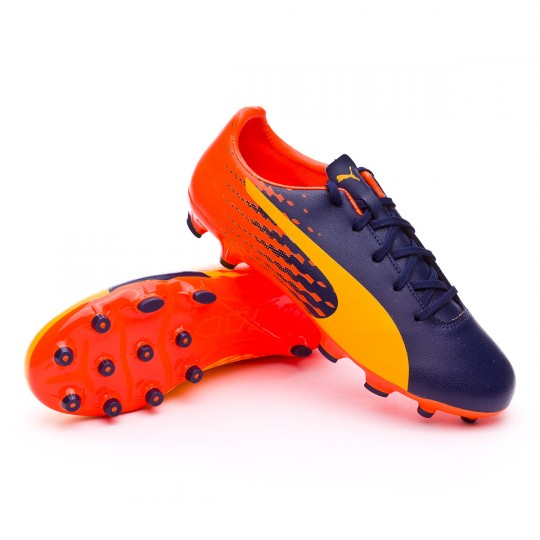 Chuteira  Puma jr evoSPEED 17.5 AG Ultra yellow-Peacoat-Orange clown fish