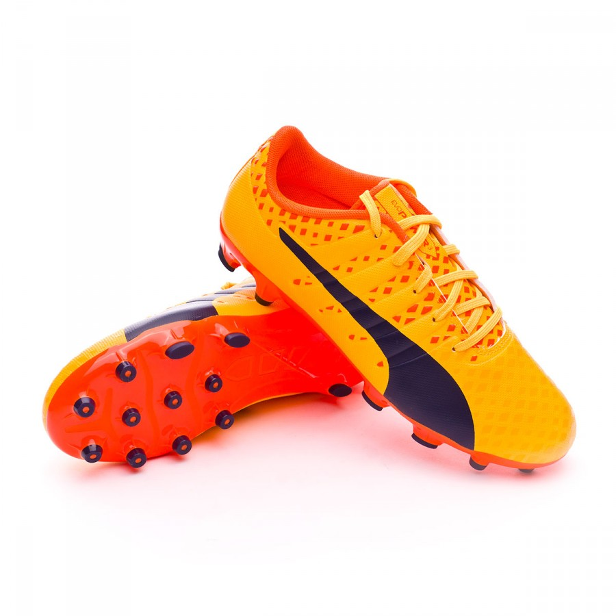 Bota de fútbol Puma evoPOWER Vigor 3 AG Niño Ultra yellow-Peacoat-Orange  clown fish - Leaked soccer a58ffafc3