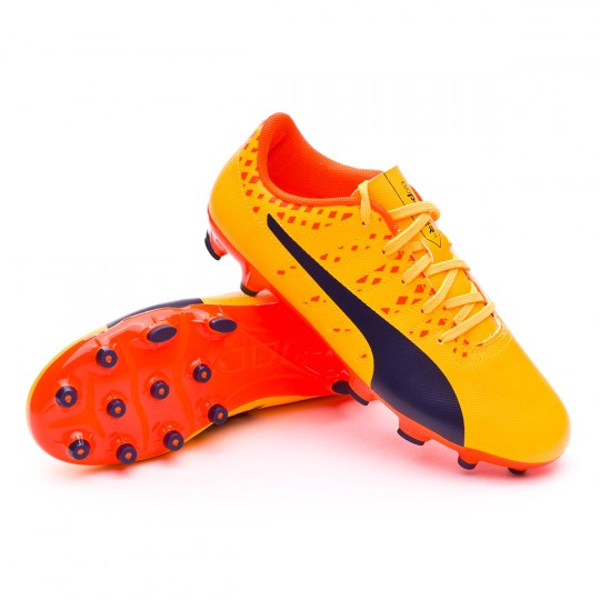Bota  Puma evoPOWER Vigor 4 AG Niño Ultra yellow-Peacoat-Orange clown fish