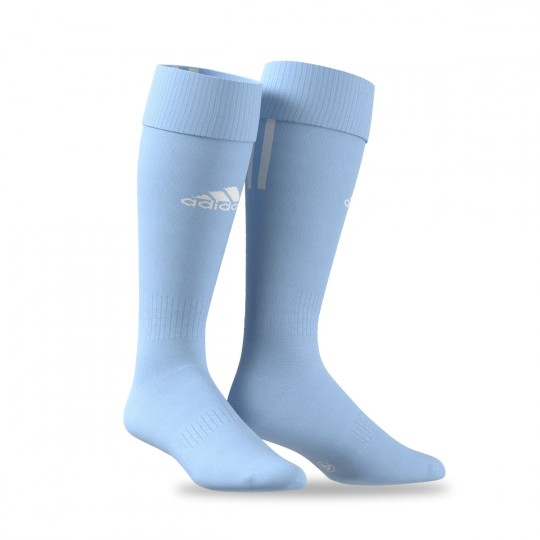 Medias  adidas Santos 3 Stripe Azul Celeste-Blanco