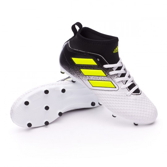 Chuteira  adidas Jr Ace 17.3 FG White-Solar yellow-Core black