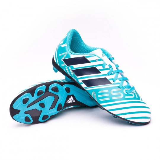 Chuteira  adidas Jr Nemeziz Messi 17.4 FxG White-Legend ink-Energy blue