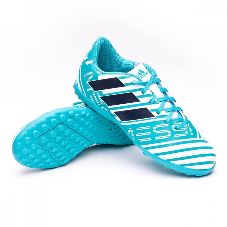 adidas Jr Nemeziz Messi 17.4 Turf Football Boot. White-Legend ink-Energy  blue reference ... 500df0e89d9d4