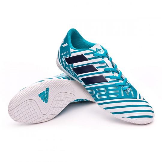 Chaussure de futsal  adidas Nemeziz Messi 17.4 IN White-Legend ink-Energy blue