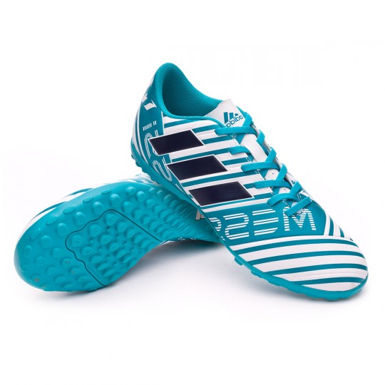 Chuteira  adidas Nemeziz Messi 17.4 Turf White-Legend ink-Energy blue