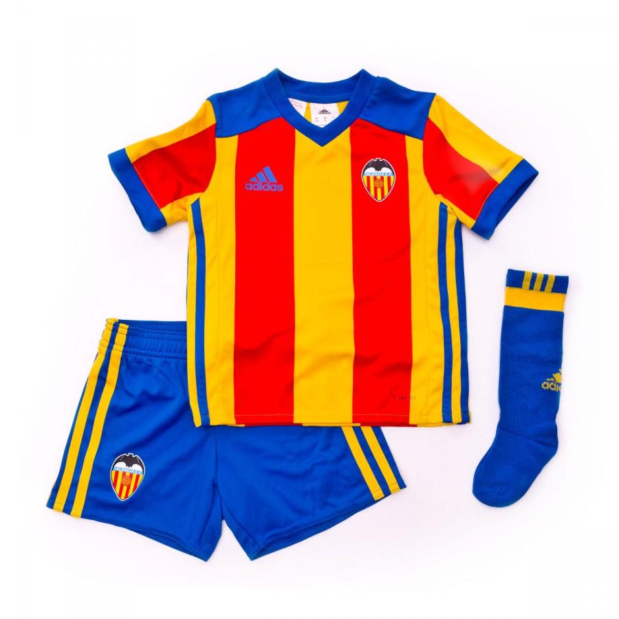 cheap for discount f2ab0 6b390 Conjunto Valencia CF Segunda Equipación Niño 2017-2018 Super yellow-red