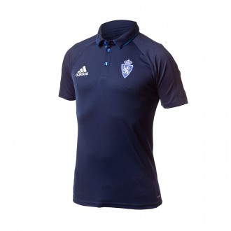 Polo  adidas Real Zaragoza 2017-2018 Collegiate navy-Blue-White